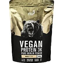 nu3 Vegan Protein 3K Vanilla Blend - veganes Proteinpulver aus 3-Komponenten-Protein mit 71% Eiweiß und leckerem Vanille-Geschmack (1 kg)