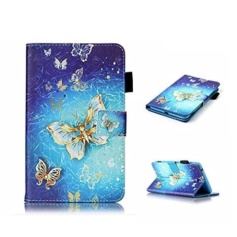 """Für Galaxy Tab E 9.6""""(SM-T560/SM-T561) Hülle, Fatcatparadise (TM) Retro Schnapp-Hülle Elegantes qualitativ Hochwertiges buntes Musterdesign Retro magnetischer erstklassiger PU-lederner Kreditkarte-Halter Brieftaschenmode Ultra dünne Passende Schutzhülle für Samsung Galaxy Tab E 9.6""""(SM-T560/SM-T561)"""