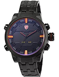 Shark SH197 - Reloj para hombres, correa de acero inoxidable color negro
