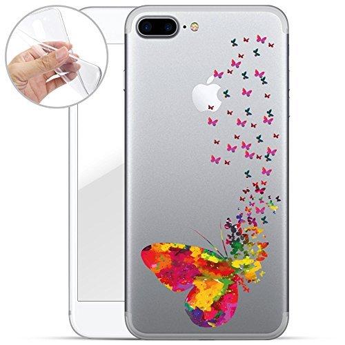 finoo   iPhone 8 Weiche flexible Silikon-Handy-Hülle   Transparente TPU Cover Schale mit Motiv   Tasche Case Etui mit Ultra Slim Rundum-schutz   Tattoo girl blond Viele Schmetterlinge