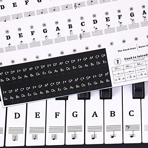 Fodlon Klavier Aufkleber, Piano Key Aufkleber Klaviertasten Aufkleber Klavier Tastatur Aufkleber Klavier Hinweis Aufkleber für Schlüssel 37/49/54/61/88, Transparent Entfernbar Aufkleber - Schlüssel Piano Für Aufkleber