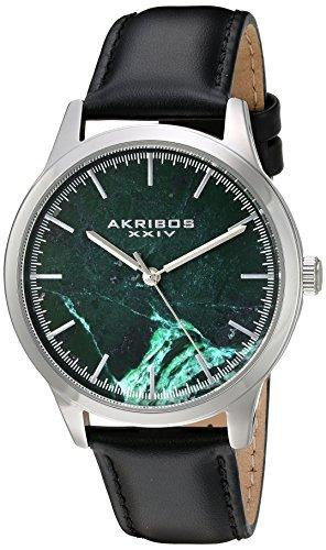 Akribos XXIV Reloj de cuarzo Hombre, Verde con esfera analógica pantalla y correa de cuero negro ak937bkgn
