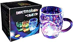 Inductive Rainbow Color Cup Water Activated LED Light-Up Blinking Flashing Rocks Glass Barware Lamp Drink Cup Pack of 1 (With Free Token)