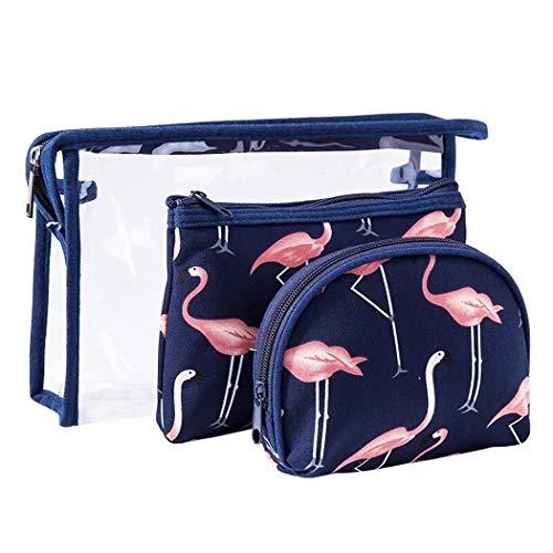 3 Stück Reise Kosmetiktasche für Damen & Mädchen, Groß Transparent PVC Kulturbeutel + Medium Makeup Tasche + Klein Schminktasche, Blue Flamingo