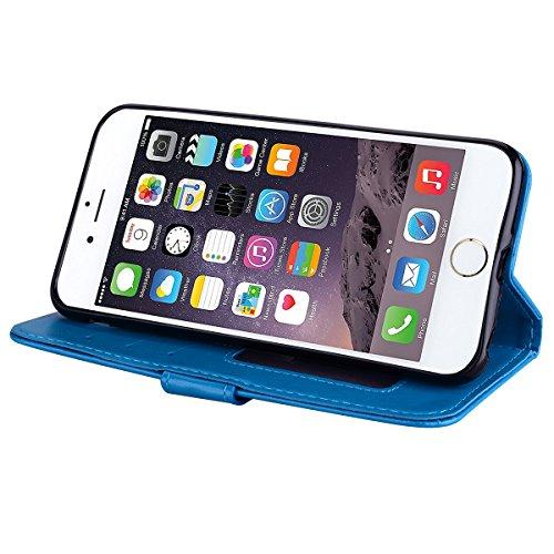 Cover iPhone 6S Plus 6 Plus Pelle Unicorno, Unicorno Portachiavi Peluche, E-Unicorn Cover Custodia Apple iPhone 6S Plus 6 Plus Pelle Unicorno Modello Brillantini Glitter Portafoglio Oro Rosa PU + TPU  Blu