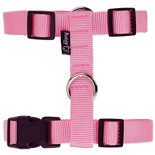 bunty-adjustable-nylon-dog-puppy-fabric-harness-vest-anti-non-pull-lead-leash-pink-small