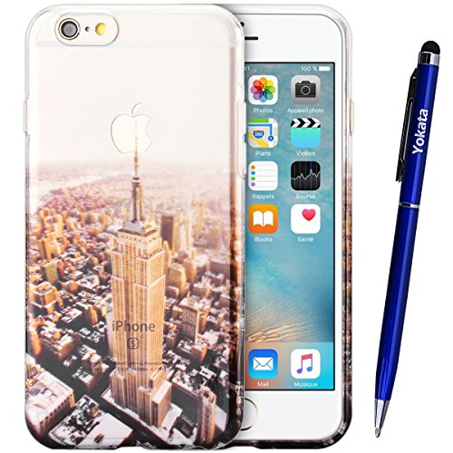 iPhone 6 / iPhone 6S Hülle, Yokata Transparent Case Soft Durchsichtig Flexible Weich TPU Silikon Gel Backcover Schutzhülle Cover Skin Klar Protective Cover + Stylus Pen x 1 - Meer Eiffel