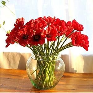 HINTER Ramo de Flores Artificiales de Seda de Amapola Artificial, de Poliuretano con Tacto Real, para decoración de…