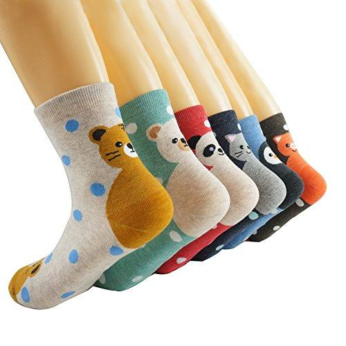Oneworld Damen Frauen Mädchen 6 Paar/Halb Dozen lieblich Classic Casual Socken Damensocken Sportsocken Strumpf Cartoon Eule, 6139-6 Paar-farbmix4, 35/40 -