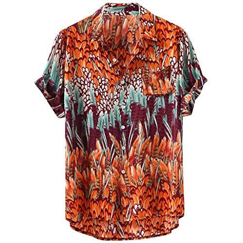 LAsimi Herren T Shirt, Herren Hawaiian Lump Brusttasche Kurzarm Rundsaum Lose Hemden Print Bluse(Gelb,Large) -
