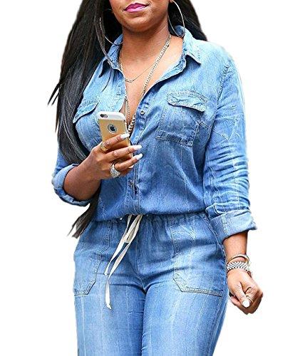 Autunnale Donna Casual Moda Siamese A Vita Alta Pantaloni Jumpsuit Playsuit Manica Lunga Jeans Tutine Romper Pantaloni Blu