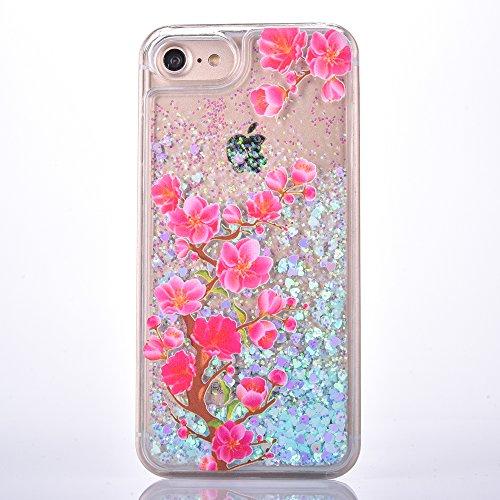 Voguecase Pour Apple iPhone 7 Plus 5,5, Luxe Flowing Bling Glitter Sparkles Quicksand et les étoiles Hard Case étui Housse Etui(Amour Quicksand-Pink sable-fleurs de cerisier) de Gratuit stylet l'écran Amour Quicksand-Bleu sable-pommetier