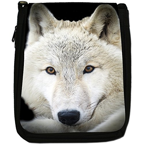 Lupo Lupi Medium Nero Borsa In Tela, taglia M White Wolf