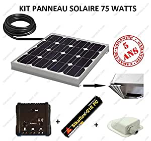kit panneau solaire 75w pour camping car monocristallin jardin. Black Bedroom Furniture Sets. Home Design Ideas