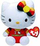 TY 46261 - Exklusive City-Hello Kitty Baby - Hamburg mit Schleife, Plüsch, 15 cm, schwarz/rot/gold