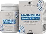 Magnesium Powder Blend - 50:50 de Glicinato y Taurato de Magnesio - Suplemento de Biodisponibilidad Alta - Focus Supplements - Mezclado y Empaquetado en UK en Instalaciones con Licencia ISO (100g)