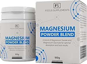 Magnesio glicinato e magnesio taurato [100 g]   Miscela polvere di magnesio - Ratio 50:50   Composto altamente biodisponibile   Focus Supplements   Vegano, senza glutine, senza lattosio, senza OGM