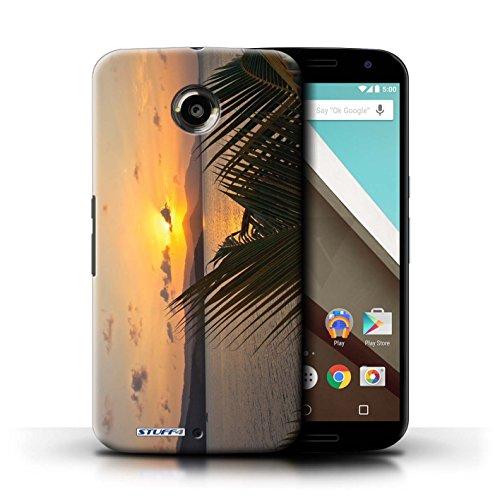 Kobalt® Imprimé Etui / Coque pour Motorola Nexus 6 / Bleu Chêne conception / Série Coucher du Soleil palmiers
