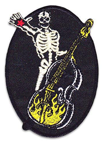 Rockabilly Skelett Aufnäher Aufbügler Patch Rock N Roll Biker Vintage Retro Rocker Kutte Bügelbild - Skelett Biker-shirt