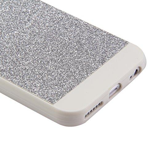 Etche Cas pour iPhone 6 Plus,Caoutchouc Couverture pour iPhone 6 Plus 5.5 pouces,Luxe cas pour iPhone 6 Plus,Hybride TPU molles caoutchouc Glamour Glitter Bling étincelle Case pour Apple iPhone 6 Plus Argent