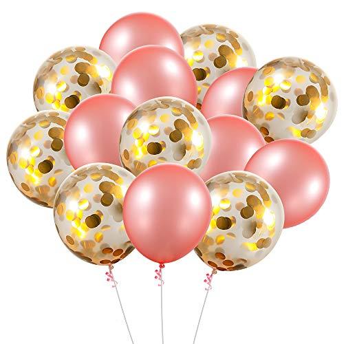 cmxing Palloncini in Lattice, 30 Pezzi 12 Pollici Palloncini Laurea di Coriandoli per Matrimonio Compleanno Festa Decorazione (Oro e Rosa)