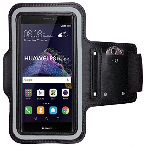 CoverKingz Armtasche für Huawei P8 Lite 2017 Sportarmband mit Schlüsselfach, Laufarmband, Sport Handyhülle, Handy Armband Schwarz