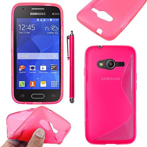 ebestStar - Compatibile Cover Samsung Galaxy Trend 2 Lite SM-G318H, Galaxy V Plus Custodia Protezione S-Line Design Silicone Morbida e Sottile + Penna, Rosa [Apparecchio: 121.4 x 62.9 x 10.7mm 4.0'']
