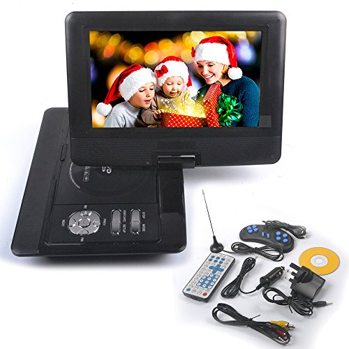 Rainyblue 10 Portable DVD Player 270° LCD Swivel Screen with Rechargeable Battery, Eye Protection Swivel Screen, In Car Charger Game SD USB, with Remote Controller   Game handle   Car Charger