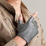 Unisex Half Finger Driving Leder Handschuhe Soft Lammfell Leder Fingerlose Handschuhe Classic Motorrad Radfahren Reiten Ungefüttert Handschuhe Handsome Hip-Hop Punk Showtime Handschuhe ( Color : Rot )