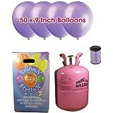 Desechable de helio Cilindro de gas con 50 Lavender Globos y Cinta Curling incluido