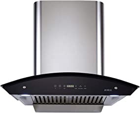Elica 60 cm 1200 m3/hr Auto Clean Chimney (WD HAC TOUCH BF 60 SS, 2 Baffle Filters, Touch Control, Steel/Grey)