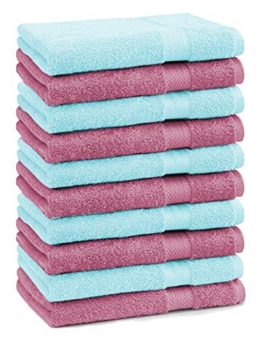 BETZ lot de 10 serviettes débarbouillettes taille 30x30 cm 100% coton Premium couleur vieux rose et turquoise