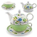 Gilde Porzellan Tee Set Birdy Tea for one Vogel Teeservice Teekanne Tasse Untersetzer weiß grün