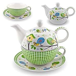 gilde porzellan tee set birdy tea for one vogel teeservice teekanne tasse untersetzer wei gr n. Black Bedroom Furniture Sets. Home Design Ideas