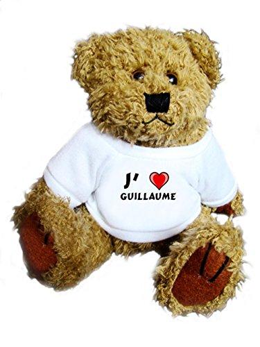 Ourson peluche avec un T-shirt: J'aime Guillaume (Noms/Prénoms)