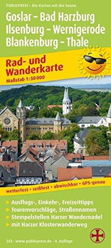 Rad- und Wanderkarte mit Ausflugszielen: Goslar, Bad Harzburg, Ilsenburg, Wernigerode, Blankenburg, Thale 1:50000
