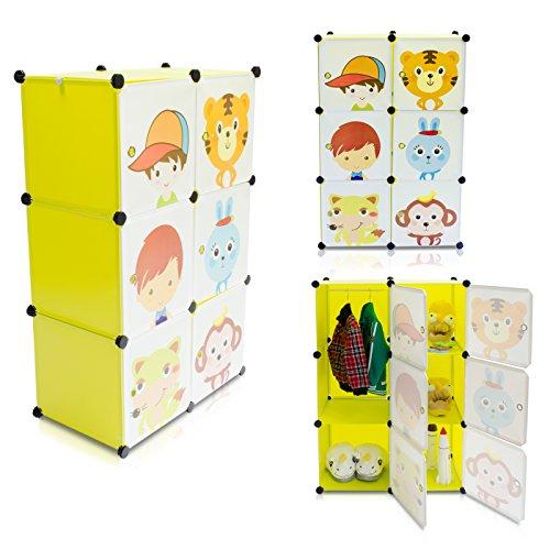Grinscard Kinderzimmer Steckschrank - Set aus 6 Modulen Gelb - DIY Steckregal System Regalschrank