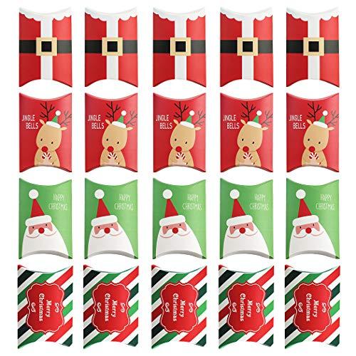 Joyibay 20 Stück Weihnachten Süßigkeiten Box Süß Kissenbezug Keksdose Partyzubehör -