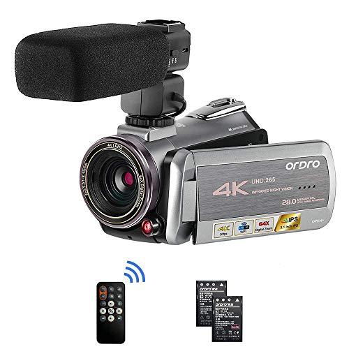 4K Camcorder, ORDRO AZ50 Video Kamera 4K 30FPS Videokamera YouTube Vlogging Kamera WiFi IR Nachtsicht 64X Digitalzoom mit Stereo Mikrofon 30fps Video