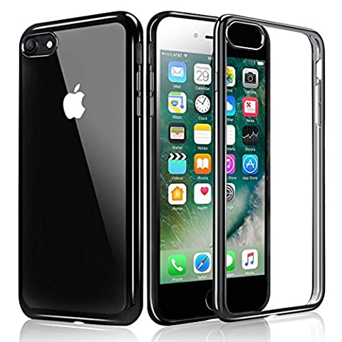 iPhone 7 Case, KKtick iPhone 7 Plating Bumper [Metal Electroplating Technology] Soft Gel TPU Silicone Case Drop Protection / Shock Absorption Protective Cover for iPhone 7 4.7 inch (Jet Black)