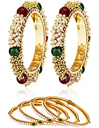 Best Valentine Gift : YouBella Jewellery Valentine Traditional Pearl & Gold Combo Bangle Set for Women/Girls - Pack of 6
