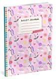 Bullet Journal: Punktraster Notizbuch (Ca. A5) + 100 Seiten + Vintage Softcover | TOP Motiv: Einhorn Mädchen | Dot Grid Journal, Kalligraphie Übungsheft, Punktpapier +++ Jetzt mit Register +++