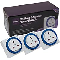 Sockit 24 Hour Segment Timer Switch - Compact Energy Saver - Plug in Mains (3 pack)