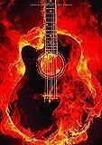 Mon Cahier de Guitare: Tablatures 100 Pages Format A4 -  En Feu...