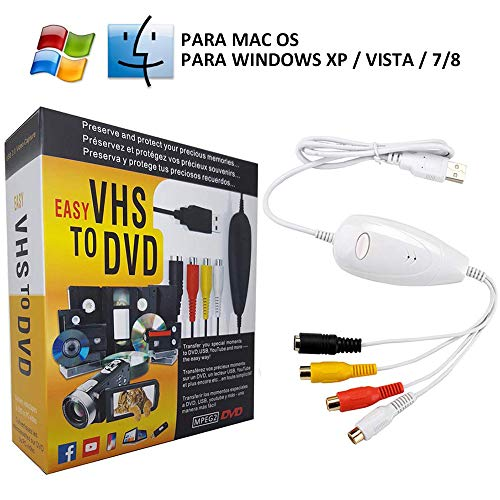 COOLEAD USB 2.0 VHS a DVD Convertidor de Video Tarjeta de Captura de Audio Adaptador de Video Transferir TV DVR VCR CCTV Hi8 Videocámara a PC Soporte Windows Xp/2000/Vista/7/8, Mac OS (Blanco)