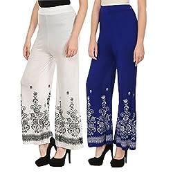 Haniya Free Size Combo of Printed Viscose Palazzos for Women (Blue & White)