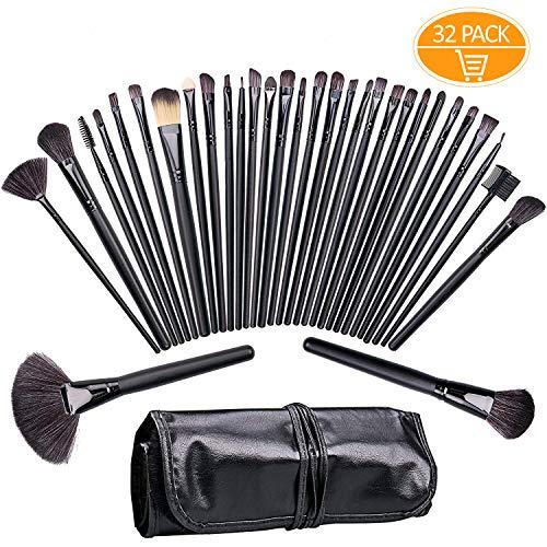 Brochas de maquillaje,Tintec Juego de brochas de maquillaje,Adecuado para maquillaje diferente (32 piezas, incluye funda de piel)