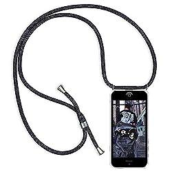 XTCASE Handykette kompatibel mit iPhone 6/6s Handyhülle, Smartphone Necklace Hülle mit Band Transparent Schutzhülle Stossfest - Schnur mit Case zum Umhängen in Schwarz