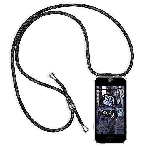 mpatibel mit iPhone 6/6s Handyhülle, Smartphone Necklace Hülle mit Band Transparent Schutzhülle Stossfest - Schnur mit Case zum Umhängen in Schwarz ()