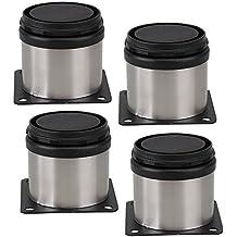 Patas de Metal para muebles armario cocina redondo pies regulables de acero inoxidable en color negro y plateado 50 x 50 mm 4 unidades